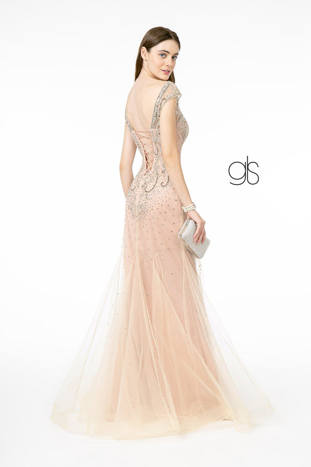 Embellished Mermaid Gown with Corset Back by Elizabeth K GL2945
