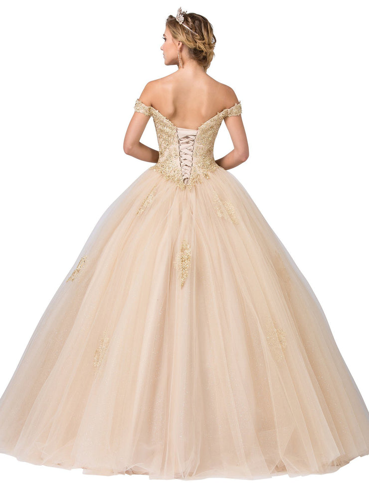 Embellished Off Shoulder Ball Gown by Dancing Queen 1361
