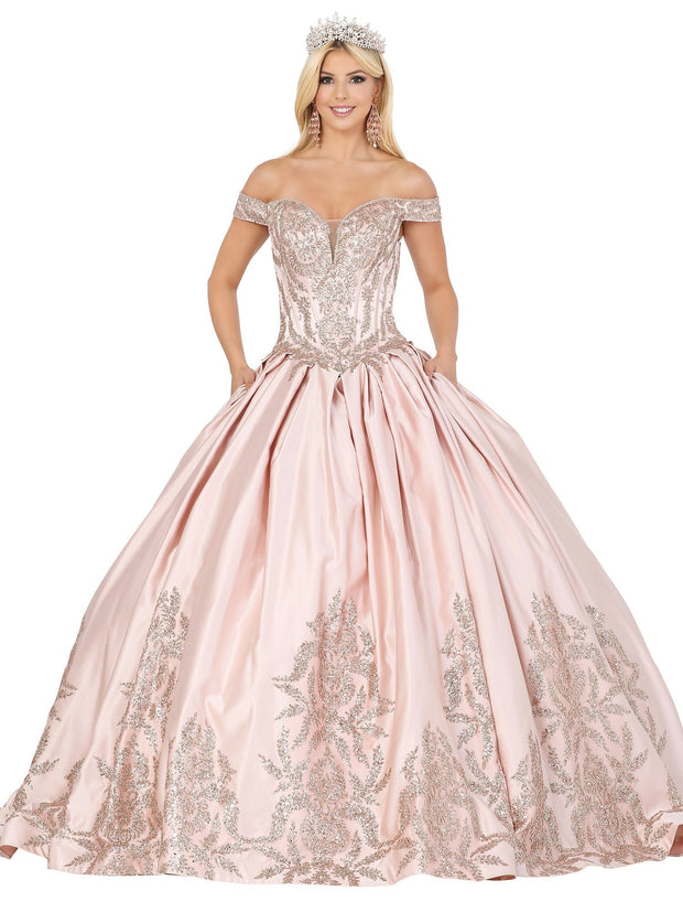 Embellished Off Shoulder Ball Gown by Dancing Queen 1521