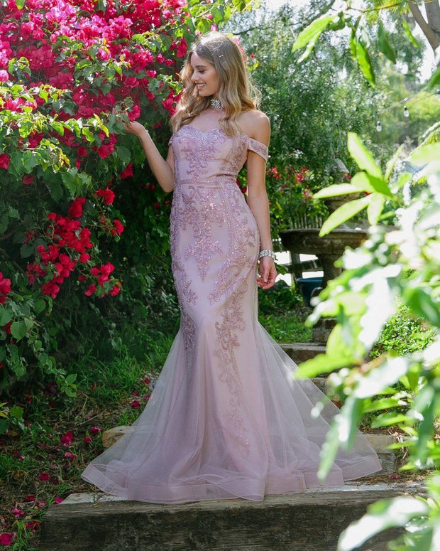 Embellished Off Shoulder Mermaid Dress by Nox Anabel H294-Long Formal Dresses-ABC Fashion