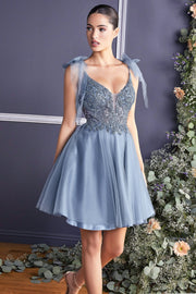 Embellished Short A-line Dress by Cinderella Divine CD0174