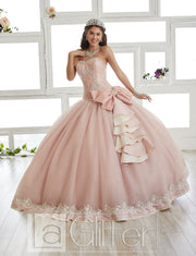 Embellished Strapless Dress by House of Wu LA Glitter 24013-Quinceanera Dresses-ABC Fashion
