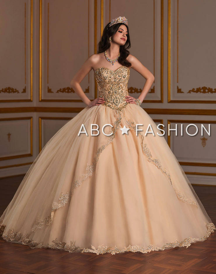 Embellished Strapless Quinceanera Dress by Fiesta Gowns 56381 (Size 12 - 22)-Quinceanera Dresses-ABC Fashion