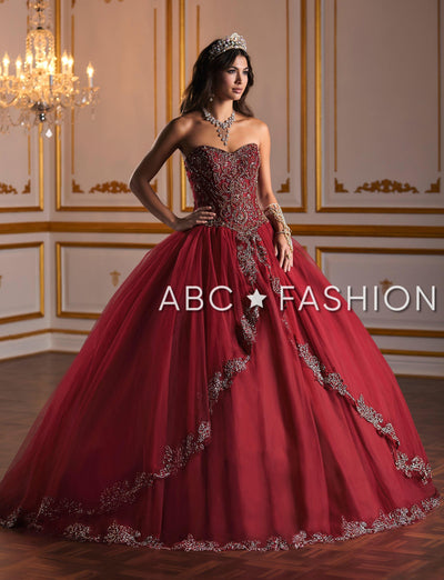 Embellished Strapless Quinceanera Dress by Fiesta Gowns 56381 (Size 24 - 30)-Quinceanera Dresses-ABC Fashion