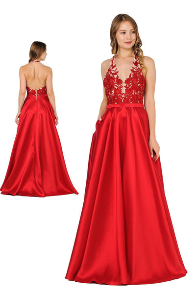 Embroidered Applique Long V-Neck Halter Dress by Poly USA 8316-Long Formal Dresses-ABC Fashion