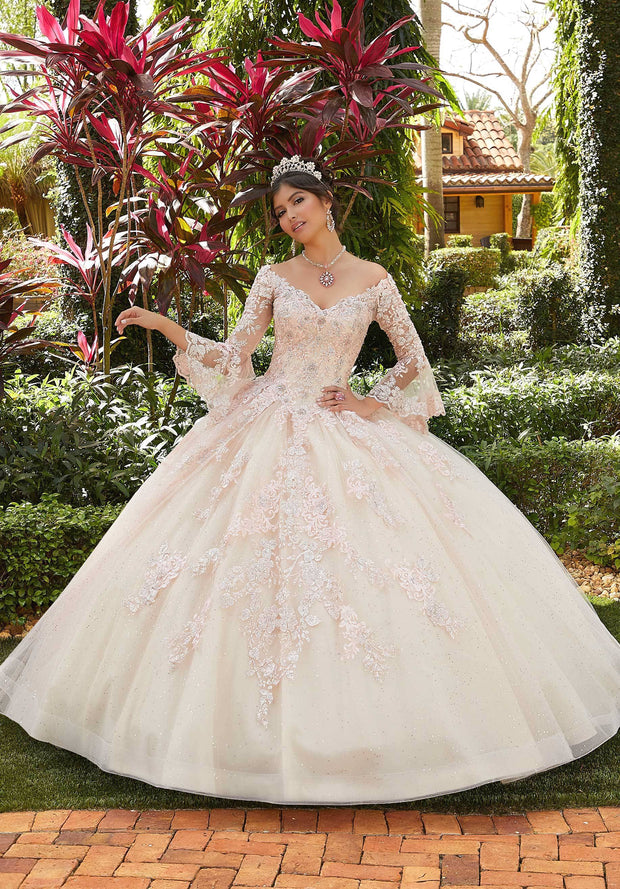 Embroidered Bell Sleeve Quinceanera Dress by Mori Lee Valencia 60124