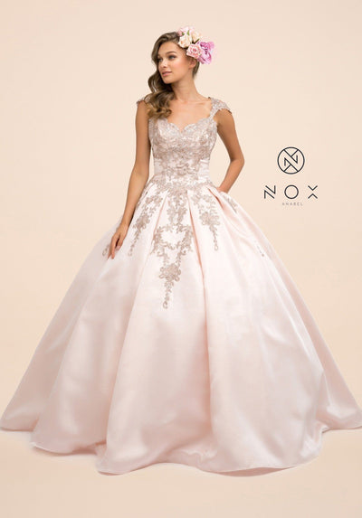 Embroidered Cap Sleeve Ball Gown by Nox Anabel U801