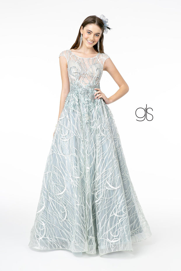 Embroidered Cap Sleeve Gown with Sheer Bodice by Elizabeth K GL2890