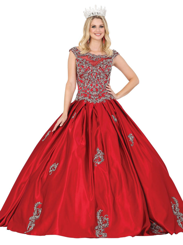 Embroidered Cap Sleeve Satin Ball Gown by Dancing Queen 1499