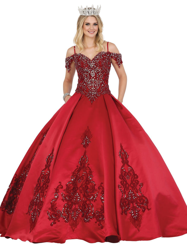 Embroidered Cold Shoulder Ball Gown by Dancing Queen 1489