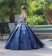 Embroidered Cutout Shoulder Ball Gown by Dancing Queen 1542