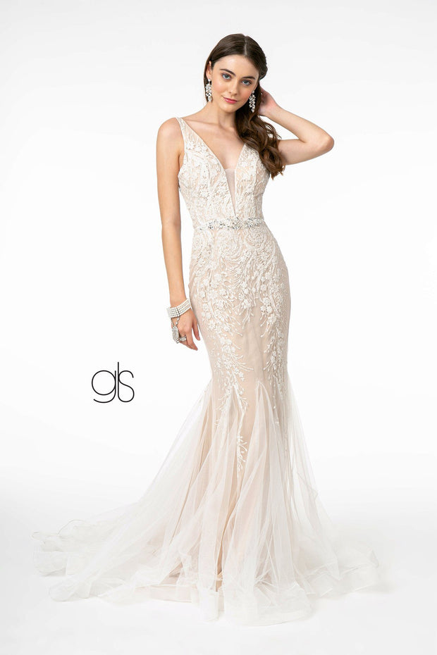 Embroidered Deep V-Neck Trumpet Dress by Elizabeth K GL2985