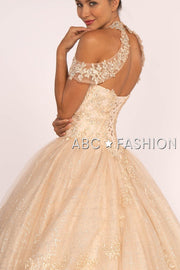 Embroidered Halter Ball Gown with Glitter Skirt by Elizabeth K GL2602-Quinceanera Dresses-ABC Fashion