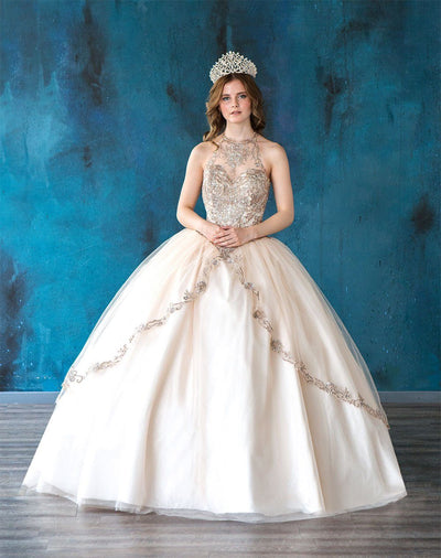 Embroidered Halter Quinceanera Dress by Calla SYL19016