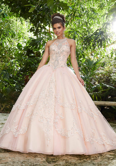 Embroidered Halter Quinceanera Dress by Mori Lee Vizcaya 89256-Quinceanera Dresses-ABC Fashion