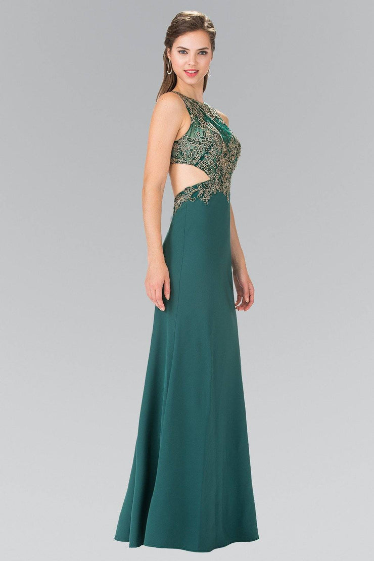 Embroidered Illusion Dress with Cutouts by Elizabeth K GL2324-Long Formal Dresses-ABC Fashion