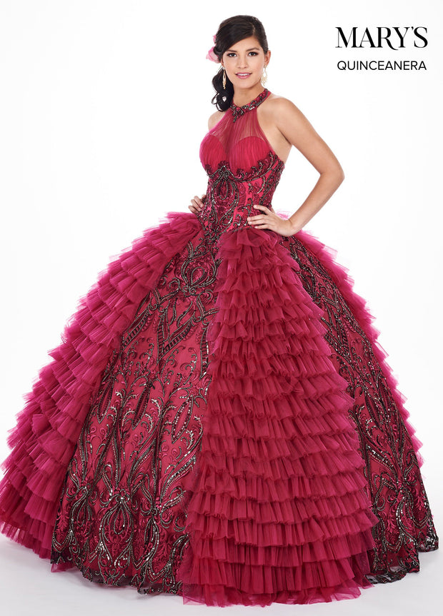 Embroidered Illusion Halter Quinceanera Dress by Mary's Bridal MQ2050-Quinceanera Dresses-ABC Fashion
