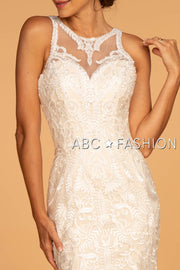 Embroidered Illusion Mermaid Wedding Dress by Elizabeth K GL2598-Wedding Dresses-ABC Fashion
