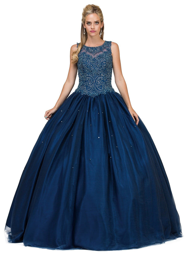 Embroidered Illusion Sleeveless Ball Gown by Dancing Queen 1152-Quinceanera Dresses-ABC Fashion