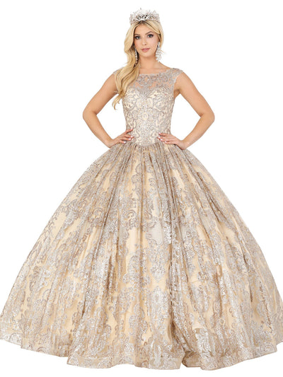 Embroidered Illusion Sleeveless Ball Gown by Dancing Queen 1514