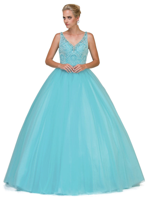 Embroidered Lace V-Neck Ball Gown by Dancing Queen 1161-Quinceanera Dresses-ABC Fashion