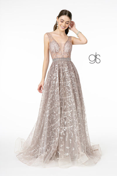 Embroidered Long A-line Illusion Dress by Elizabeth K GL2971