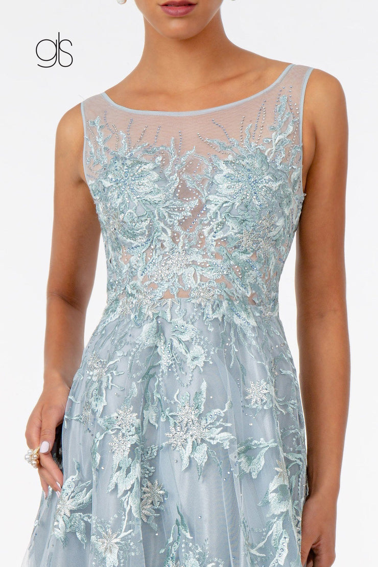 Embroidered Long A-line Sleeveless Dress by Elizabeth K GL2979