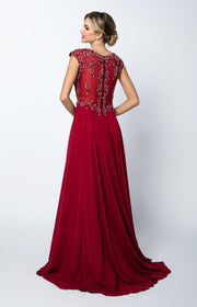 Embroidered Long Cap Sleeve Dress with Sheer Back by Juliet 585-Long Formal Dresses-ABC Fashion