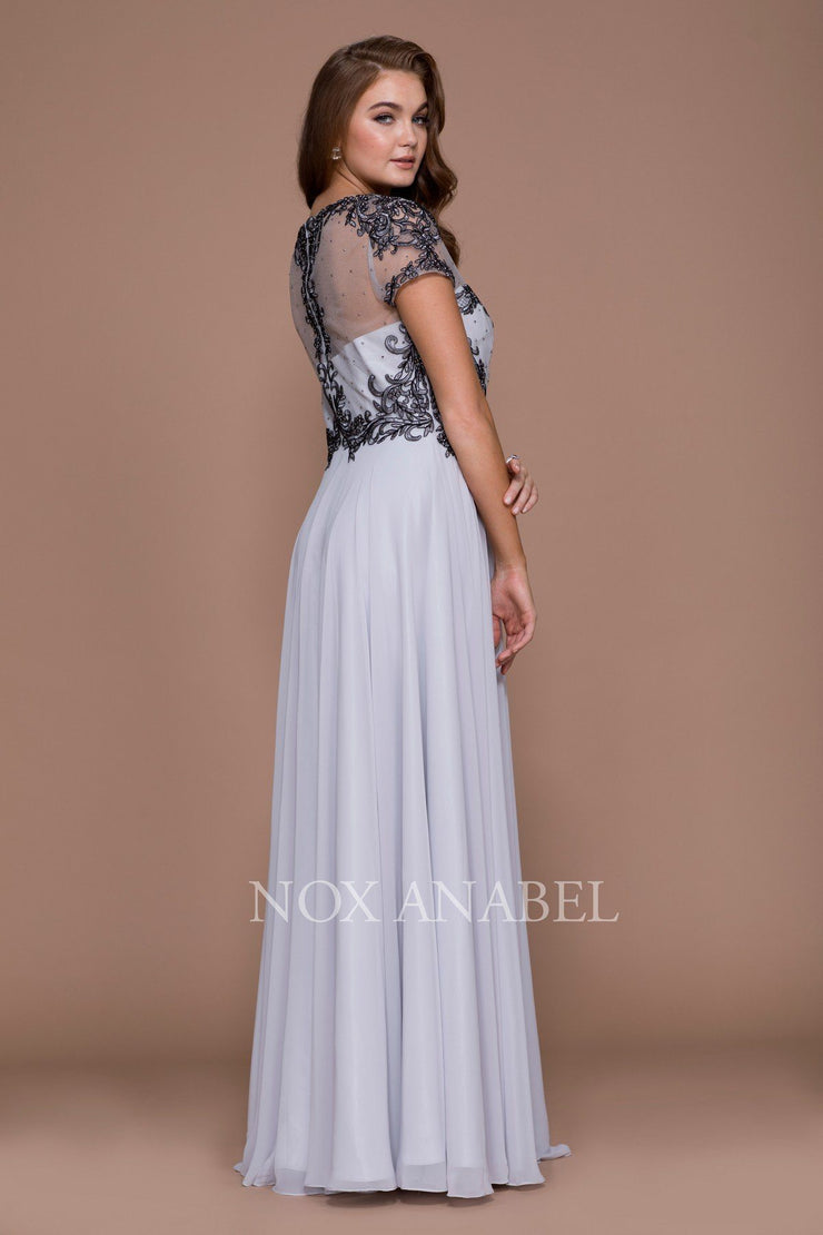 Embroidered Long Illusion Dress with Short Sleeves by Nox Anabel 5143-Long Formal Dresses-ABC Fashion