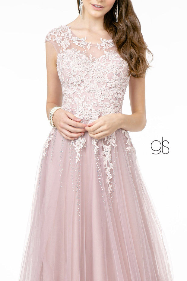 Embroidered Long Illusion Sweetheart Dress by Elizabeth K GL2886