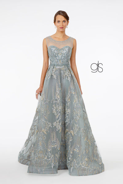Embroidered Long Illusion Sweetheart Dress by Elizabeth K GL2980