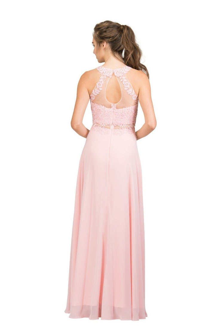 Embroidered Long Mock Two Piece Dress by Star Box 16146-Long Formal Dresses-ABC Fashion