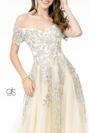 Embroidered Long Off Shoulder Dress by Elizabeth K GL2885