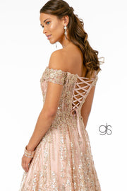 Embroidered Long Off Shoulder Glitter Dress by Elizabeth K GL2941