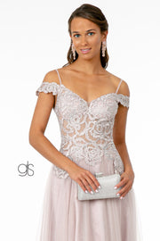 Embroidered Long Sheer Cold Shoulder Dress by Elizabeth K GL2953