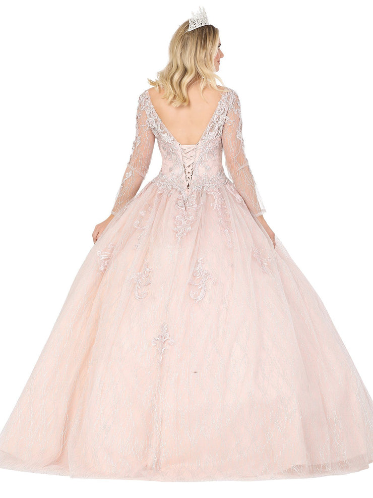 Embroidered Long Sleeve Ball Gown by Dancing Queen 1479