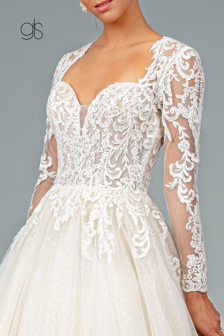 Embroidered Long Sleeve Wedding Dress by Elizabeth K GL1804
