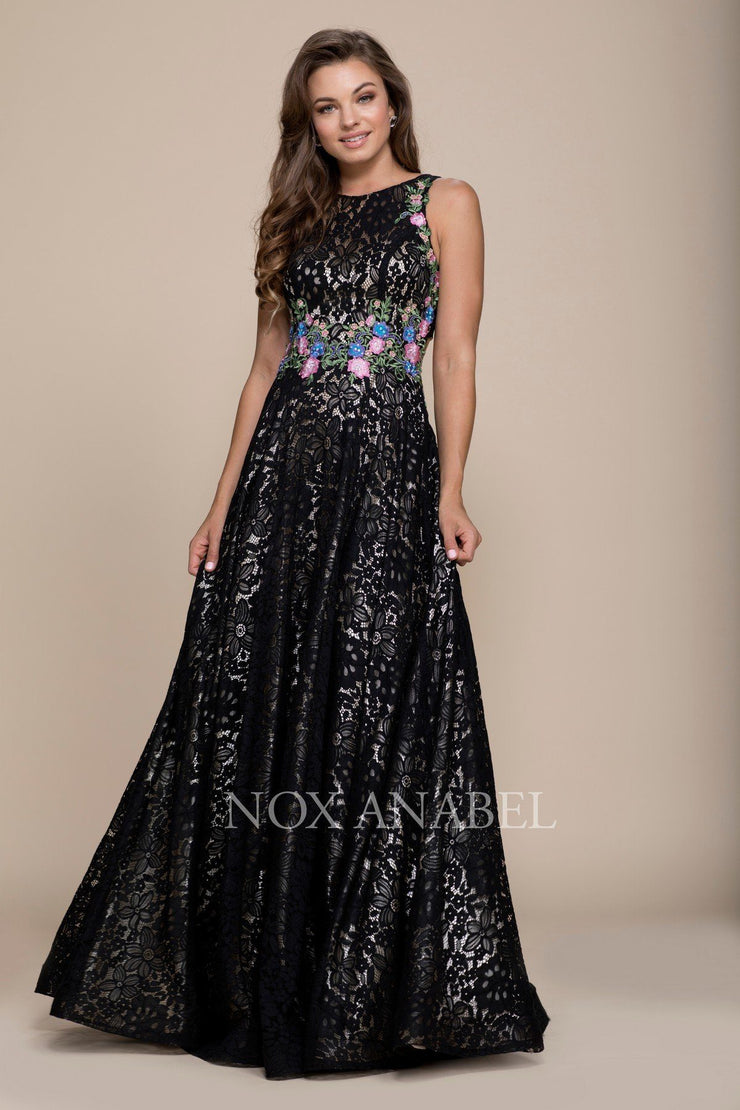 Embroidered Long Sleeveless Lace Dress by Nox Anabel 8281-Long Formal Dresses-ABC Fashion