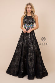 Embroidered Long Sleeveless Lace Dress by Nox Anabel 8281