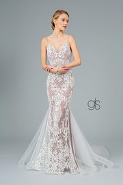 Embroidered Long Sleeveless Mermaid Dress by Elizabeth K GL2934