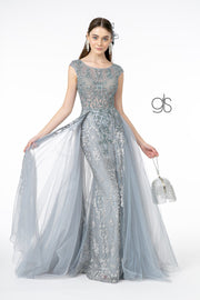 Embroidered Mermaid Dress with Over Skirt by Elizabeth K GL1808
