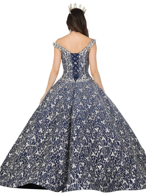 Embroidered Off Shoulder Ball Gown by Dancing Queen 1510