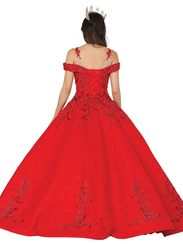 Embroidered Off Shoulder Ball Gown by Dancing Queen 1513