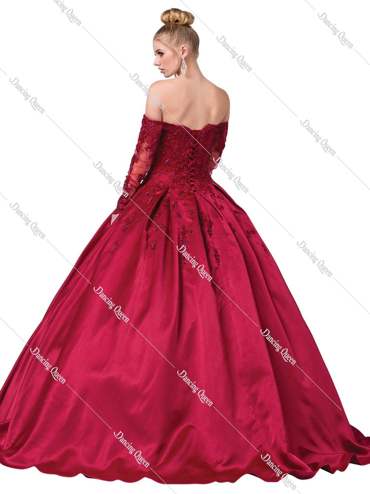 Embroidered Off Shoulder Ball Gown with Sleeves by Dancing Queen 1335-Quinceanera Dresses-ABC Fashion