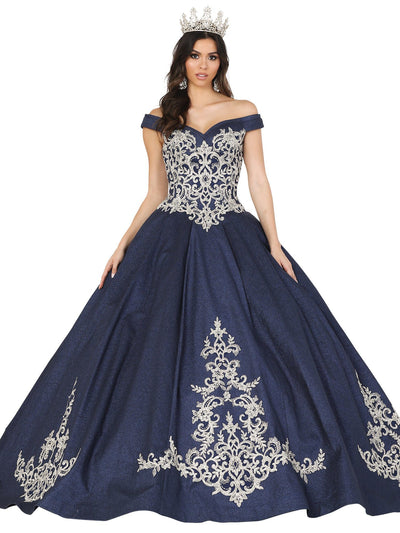 Embroidered Off Shoulder Glitter Ball Gown by Dancing Queen 1507