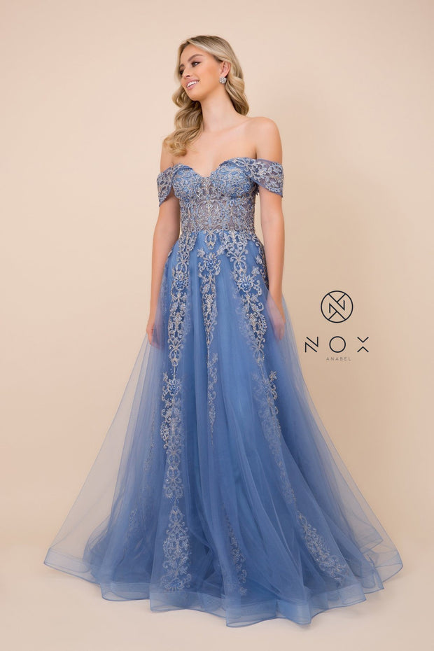 Embroidered Off Shoulder Gown by Nox Anabel F336