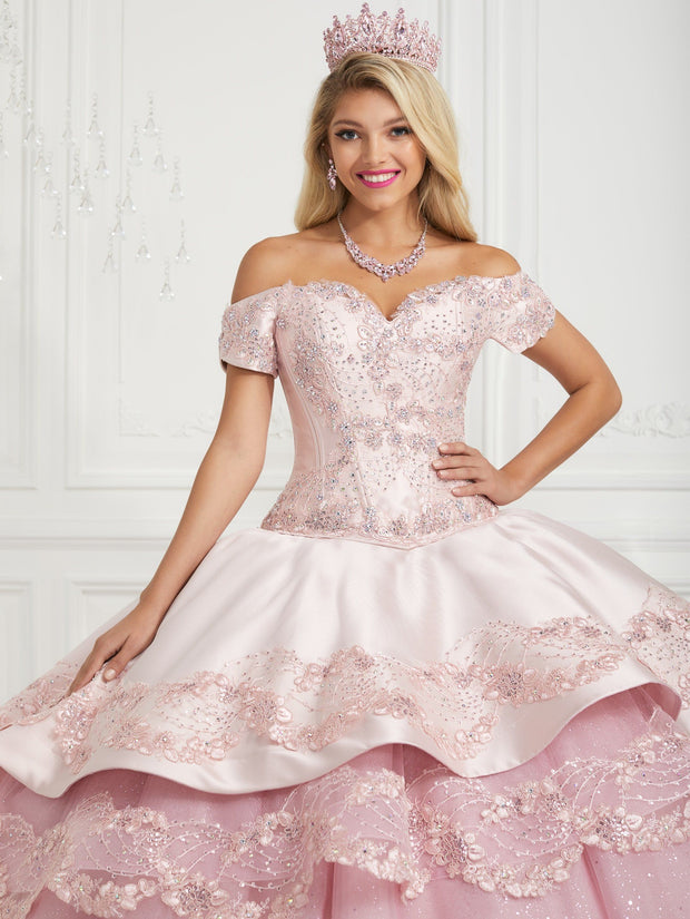 Embroidered Off Shoulder Quinceanera Dress by LA Glitter 24079
