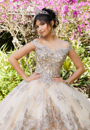 Embroidered Off Shoulder Quinceanera Dress by Mori Lee Vizcaya 89294
