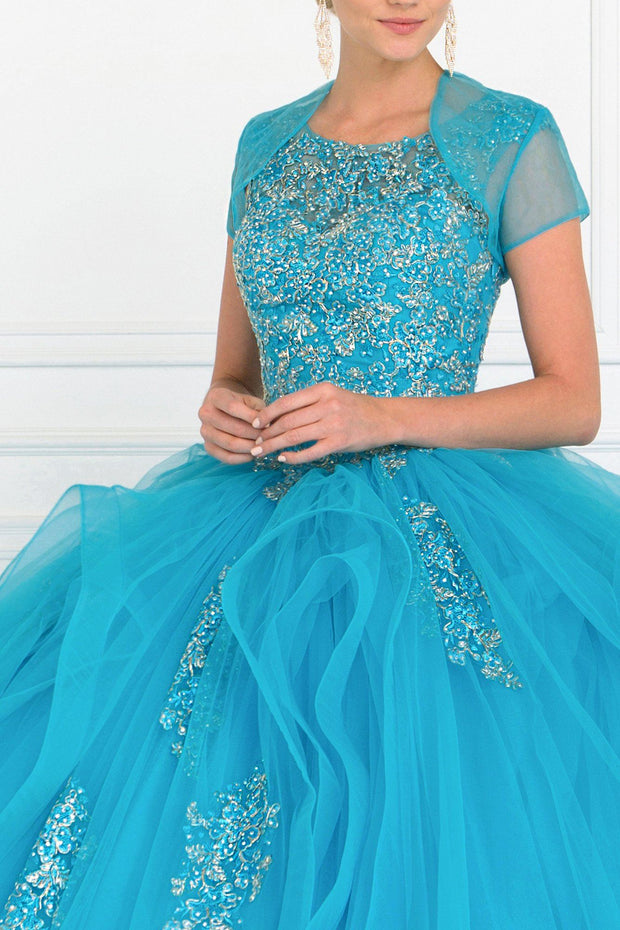 Embroidered Ruffled Ball Gown with Bolero by Elizabeth K GL1557-Quinceanera Dresses-ABC Fashion