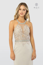 Embroidered Sheer Bodice Long Sleeveless Trumpet Dress by Nox Anabel M195-Long Formal Dresses-ABC Fashion